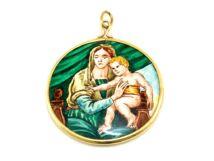 Mária a gyermekkel zománc medál