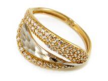 Bicolor vésett és köves arany gyűrű