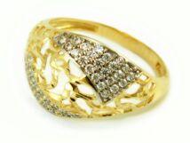 Áttört köves bicolor arany eljegyzési gyűrű