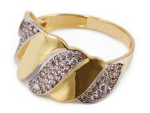 Köves hullámos arany gyűrű