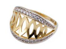 Köves áttört arany gyűrű