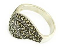 Markazitos antikolt női ezüst gyűrű