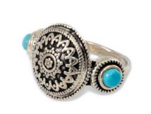 Türkiz köves antikolt ezüst gyűrű