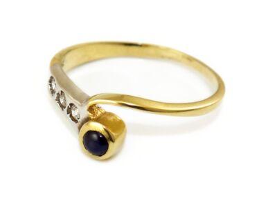 Zafír és cirkónia köves bicolor arany gyűrű