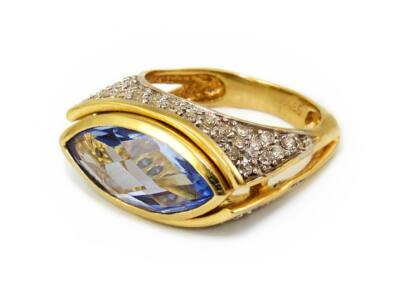 Kék és fehér köves szögletes női arany gyűrű