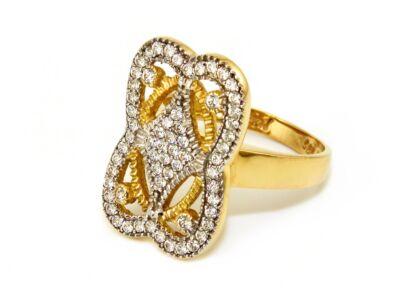 Áttört köves bicolor arany gyűrű