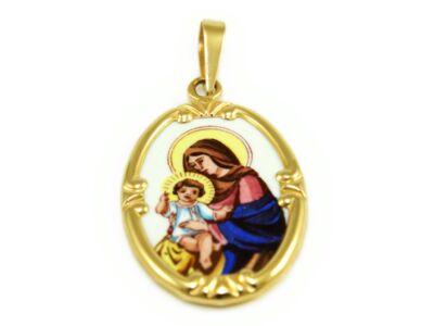 Mária a gyermekkel zománc arany medál