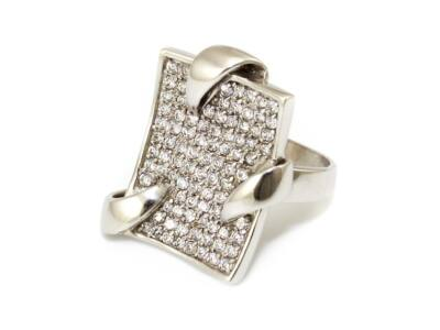 Köves fantázia fehérarany gyűrű