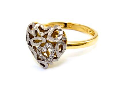 Áttört szíves bicolor arany gyűrű