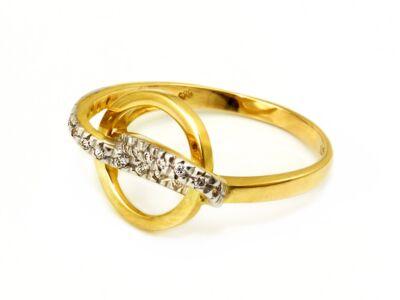 Karikás köves bicolor arany gyűrű