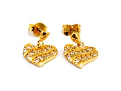 Köves szív arany fülbevaló