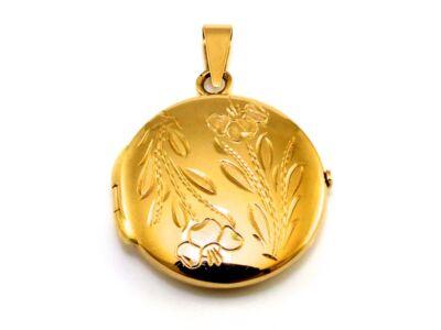 Vésett kerek nyitható arany medál