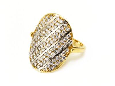 Hosszúkás köves bicolor arany gyűrű