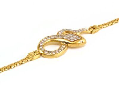 Köves kígyós arany karlánc