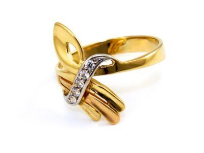 Köves tricolor arany gyűrű