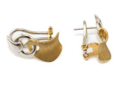 Mattírozott bicolor arany fülbevaló