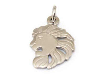 Matt és fényes fehérarany oroszlánfej medál