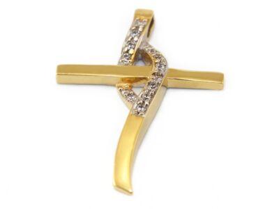 Köves kereszt bicolor arany medál