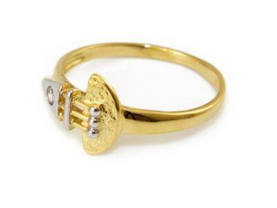Bicolor köves áttört női arany gyűrű