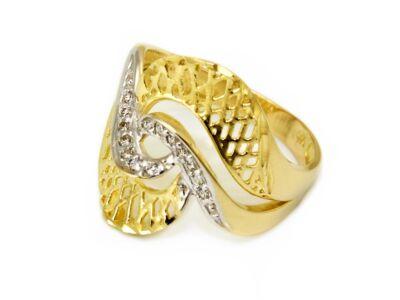 Bicolor áttört köves arany gyűrű