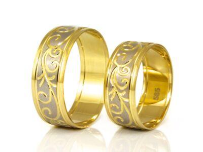 Bicolor inda mintás arany karikagyűrű