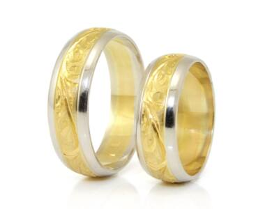 Bicolor vésett arany karikagyűrű