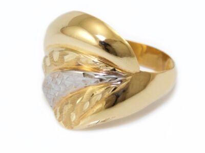 Bicolor matt és vésett női arany gyűrű
