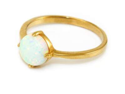 Opálos női arany eljegyzési gyűrű