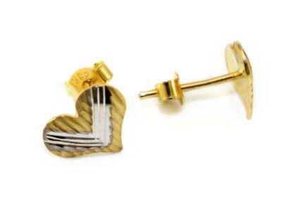 Vésett és matt bicolor szív arany fülbevaló