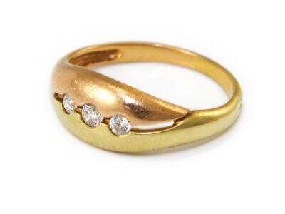 Köves bicolor arany gyűrű