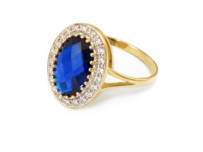 Kék fehér köves női arany eljegyzési gyűrű