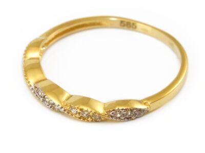 Csavart bicolor köves arany eljegyzési gyűrű
