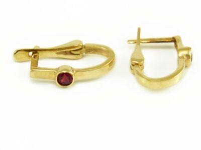 Piros köves arany fülbevaló