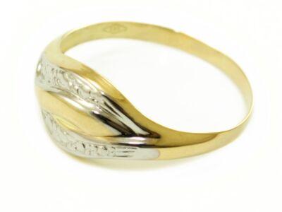 Bicolor vésett arany eljegyzési gyűrű