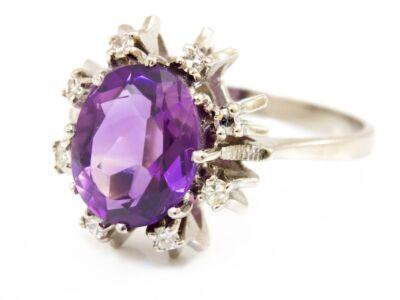Ametiszt és gyémánt köves fehérarany gyűrű