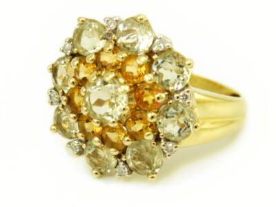 Gyémánt és kvarc köves arany gyűrű