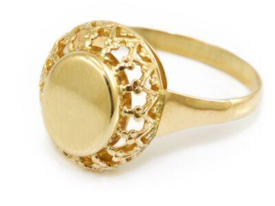 Galériás ovál arany pecsétgyűrű
