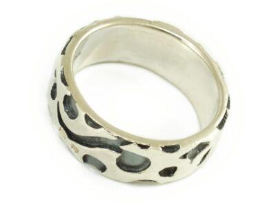 Antikolt széles mintás ezüst gyűrű
