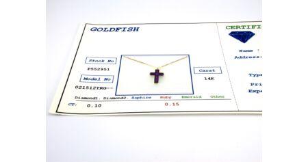 Brill és rubin köves arany medál lánccal