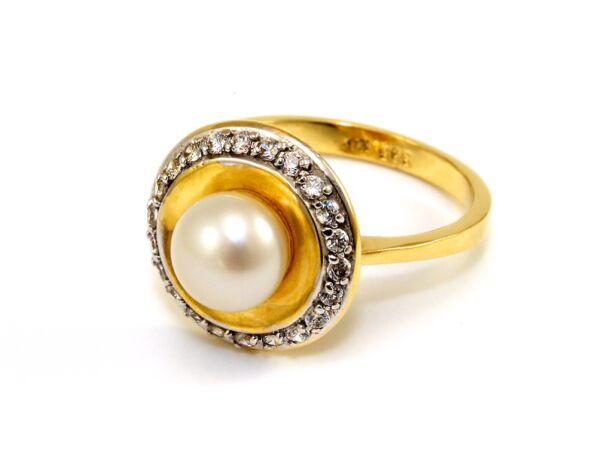 Gyöngyös köves női arany gyűrű