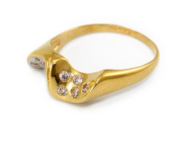 Bicolor köves női arany gyűrű