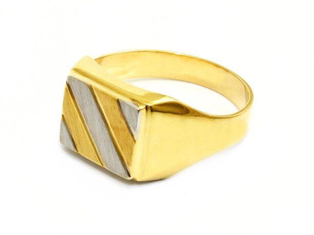 Matt és vésett bicolor férfi arany gyűrű