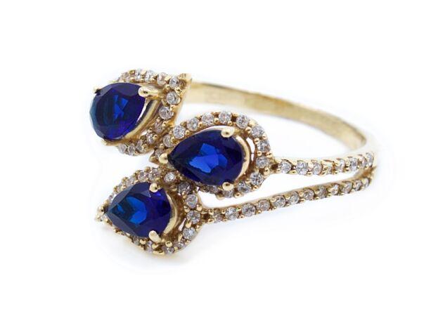 Sárga arany cirkónia köves női gyűrű