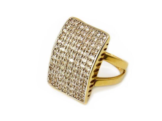 Bicolor köves téglalap arany gyűrű