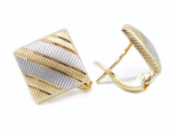 Bicolor arany vésett női fülbevaló