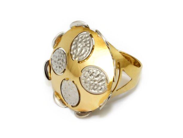 Domború bicolor fantázia arany gyűrű