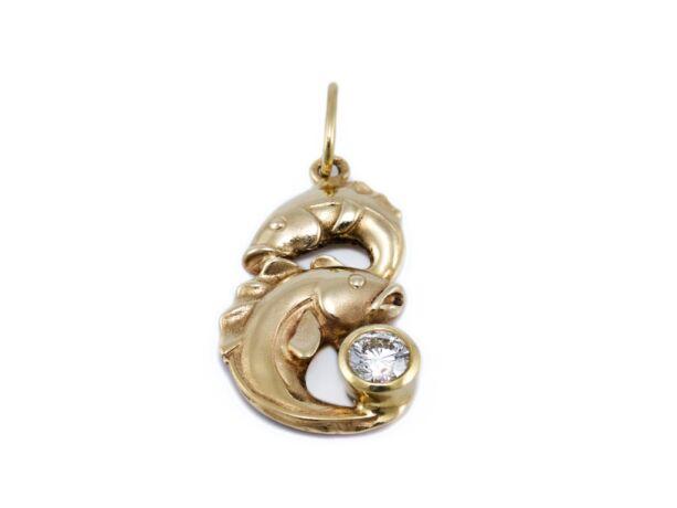 Gyémánt köves halak arany medál