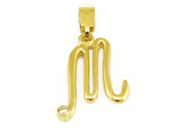 """Köves arany """"M"""" betű medál"""