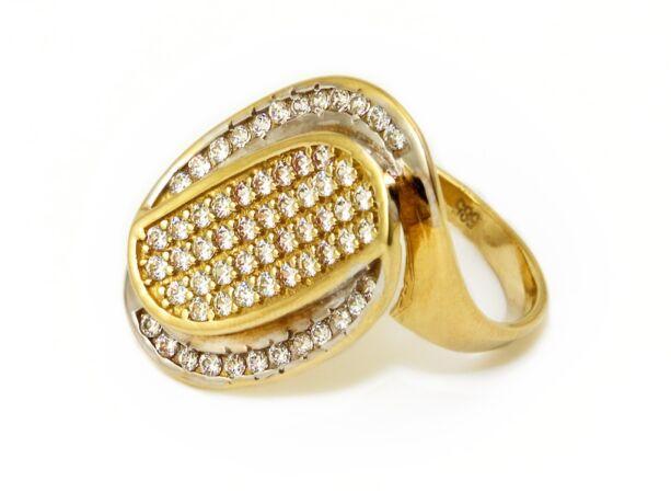 Hosszúkás bicolor köves arany gyűrű