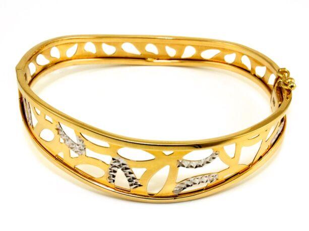 Áttört bicolor arany karreif